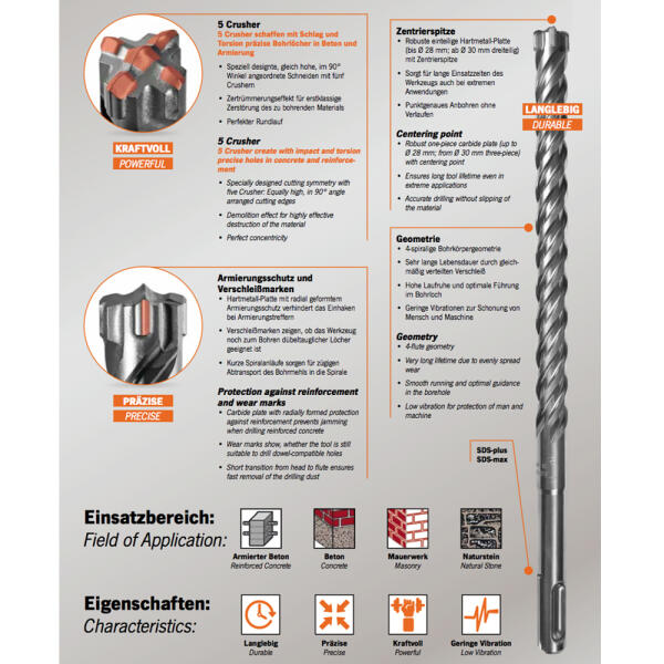 PROJAHN Hammerbohrer Rocket 5 SDS-plus Ø 6,5 mm x 310 mm 5er-Pack