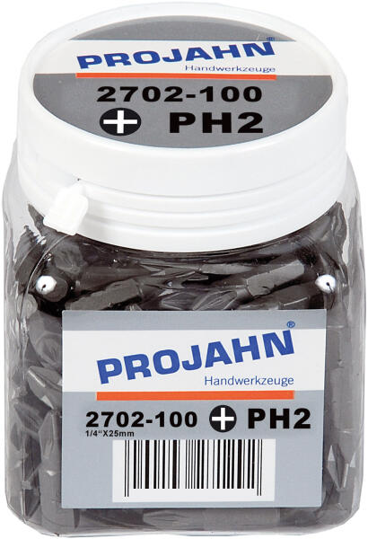 "PROJAHN Plus 1/4"" Bit PH2 L25 mm Phillips Nr. 2 100er-Pack"