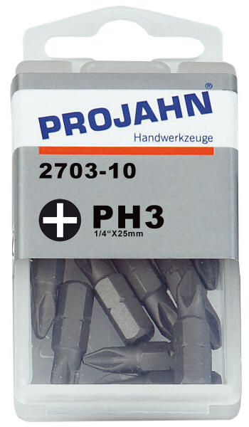 PROJAHN Plus 1/4 Bit PH3 L25 mm Phillips Nr. 3 10er-Pack