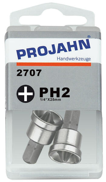 PROJAHN Plus 1/4 Bit PH2 Phillips Nr. 2 mit Tiefenstopp 25 mm 2er-Pack