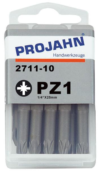 """PROJAHN Plus 1/4"""" Bit PZ1 L25 mm Pozidriv Nr. 1 10er-Pack"""