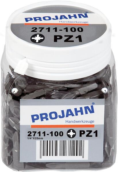 """PROJAHN Plus 1/4"""" Bit PZ1 L25 mm Pozidriv Nr. 1 100er-Pack"""