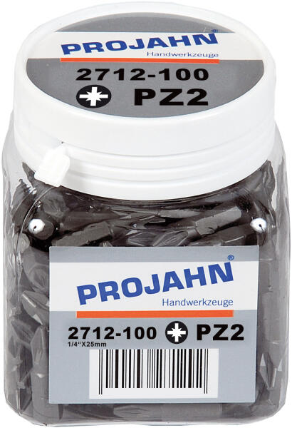"""PROJAHN Plus 1/4"""" Bit PZ2 L25 mm Pozidriv Nr. 2 100er-Pack"""