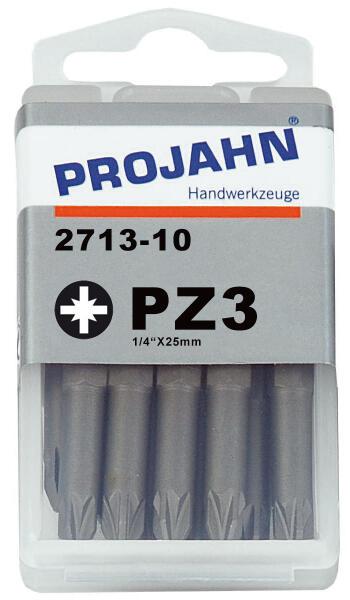 """PROJAHN Plus 1/4"""" Bit PZ3 L25 mm Pozidriv Nr. 3 10er-Pack"""