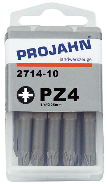 """PROJAHN Plus 1/4"""" Bit PZ4 L25 mm Pozidriv Nr. 4 10er-Pack"""