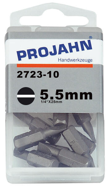 PROJAHN Plus 1/4 Bit Schlitz 5,5 mm L25 mm 10er-Pack