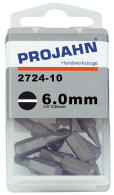 PROJAHN Plus 1/4 Bit Schlitz 6,0 mm L25 mm 10er-Pack