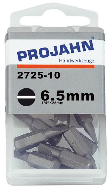 "PROJAHN Plus 1/4"" Bit Schlitz 6,5 mm L25 mm 10er-Pack"