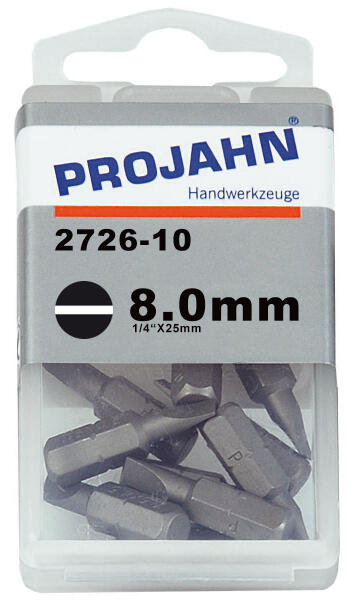 PROJAHN Plus 1/4 Bit Schlitz 8,0 mm L25 mm 10er-Pack