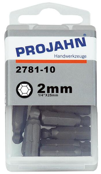 """PROJAHN Plus 1/4"""" Bit Innensechskant Kugelkopf 2,0 mm L25 mm 10er-Pack"""