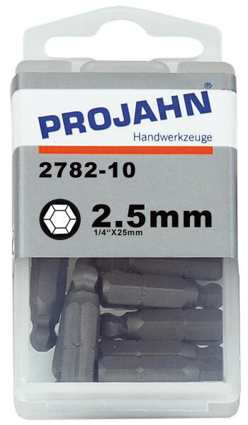 """PROJAHN Plus 1/4"""" Bit Innensechskant Kugelkopf 2,5 mm L25 mm 10er-Pack"""