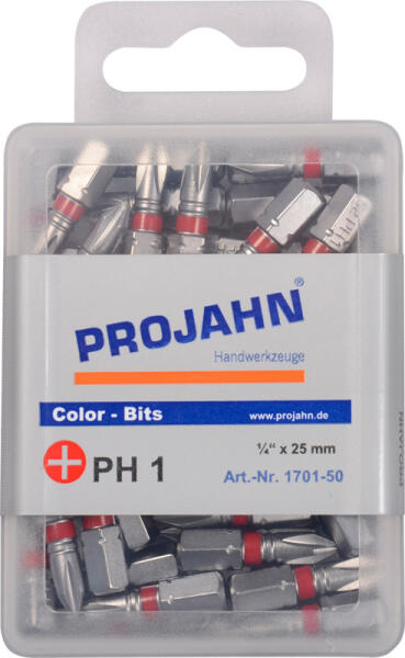 """PROJAHN Color-Ring 1/4"""" markierter Bit PH1 L25 mm Phillips Nr. 1 50er-Pack"""