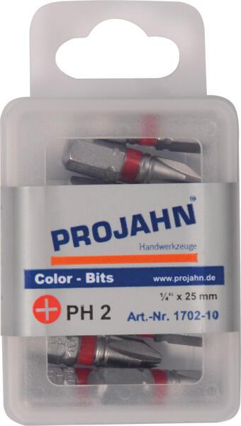 """PROJAHN Color-Ring 1/4"""" markierter Bit PH2 L25 mm Phillips Nr. 2 10er-Pack"""