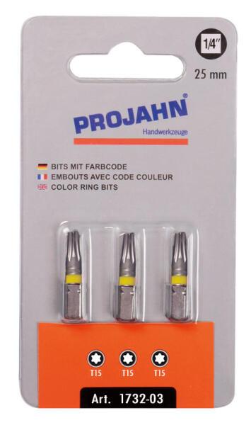 """PROJAHN Color-Ring 1/4"""" markierter Bit TORX® TX15 L25 mm 3er-Pack"""