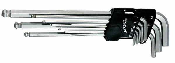 PROJAHN Winkelstiftschlüssel-Satz 9-tlg. extra lang Sechskant mit Kugelkopf 1,5-10 mm