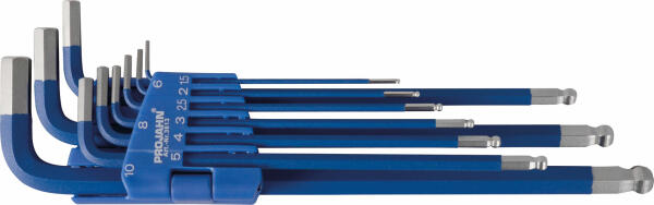 PROJAHN Blue Edition Winkelstiftschlüssel-Satz extra lang & magnetisch 9-tlg. Sechskant mit Kugelkopf 1,5-10 mm