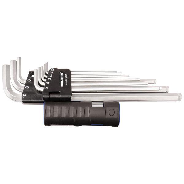 PROJAHN Winkelstiftschlüssel-Satz 9-tlg. extra lang mit Multifunktionsgriff & TURBALL®-Kugelkopf 1,5-10 mm