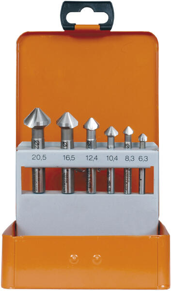 PROJAHN Kegelsenker Set dreischneidig 90° 6-tlg. HSS-Co 5% DIN 335 C Ø 6,3 - 20,5 mm Zylinderschaft