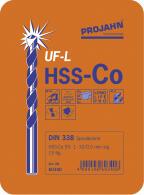 PROJAHN Spiralbohrer Set 19-tlg. HSS-Co 5% DIN 338 Typ UF-L Ø 1 - 10 mm Zylinderschaft