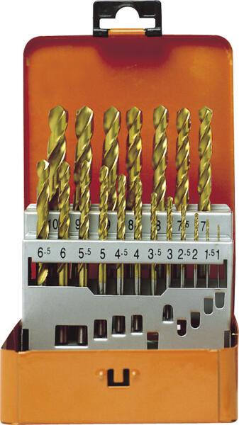 PROJAHN Eco Spiralbohrer Set 19-tlg. HSS-G TiN DIN 338 Typ N  Ø 1 - 10 mm Zylinderschaft