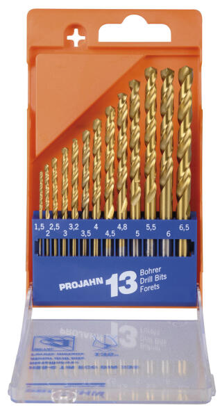 PROJAHN Eco Spiralbohrer Set 13-tlg. HSS-G TiN DIN 338 Ø 1,5 - 6,5 mm Zylinderschaft