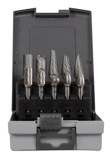 PROJAHN Hartmetall-Frässtifte Set 10-tlg. Form B/C/D/E/G/L mit Kreuzverzahnung
