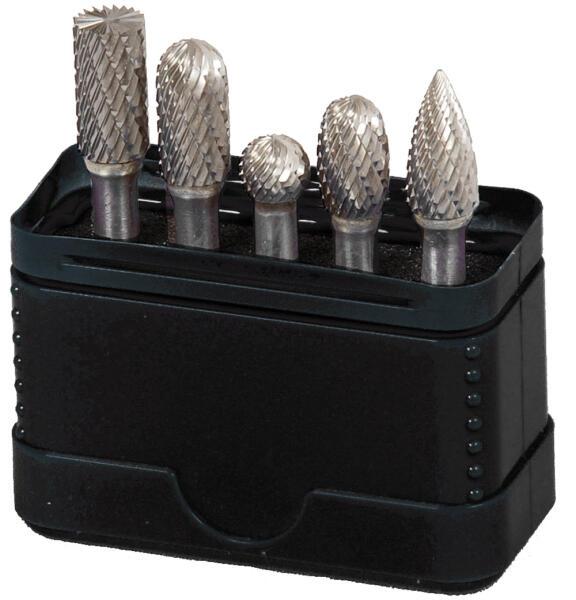 PROJAHN Hartmetall-Frässtifte Set 5-tlg. Form B/C/D/E/G/L mit Kreuzverzahnung