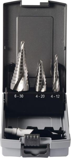 PROJAHN Stufenbohrer mit Spiralnute Set 4-tlg. HSS-G Gr. 1 - 3 3-Flächenschaft mit Bohrpaste