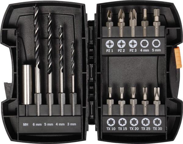 PROJAHN Bohrer-Bit Set 15-tlg. für Holz Ø 3 - 6 mm mit E 6.3 Bit-Aufnahme