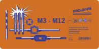 PROJAHN Gewindeschneidzeug Set 44-tlg. Gewindebohrer M3 - M12 + Schneideisen + Schablone