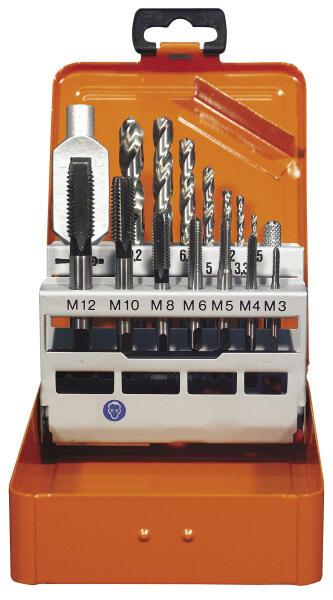 PROJAHN Einschnitt-Gewindebohrer Set 15-tlg. M3 - M12 für Maschinen- und Handgebrauch