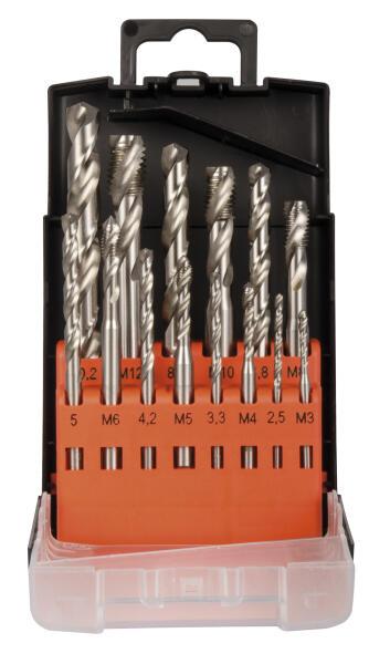 PROJAHN Maschinengewindebohrer Set 14-tlg. HSS DIN 371/376 35° M3 - M12 für Sacklöcher