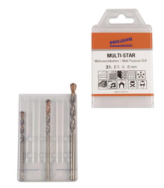 PROJAHN MULTI-STAR Mehrzweckbohrer Set 3-tlg. Ø 5 - 8 mm Zylinderschaft