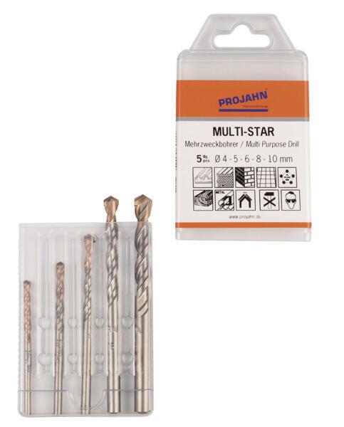 PROJAHN MULTI-STAR Mehrzweckbohrer Set 5-tlg. Ø 4 - 10 mm Zylinderschaft