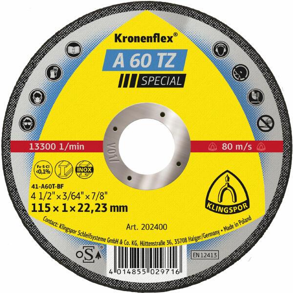 Klingspor Kronenflex A 60 TZ Special Trennscheibe 115 x 1 x 22,2 mm gerade
