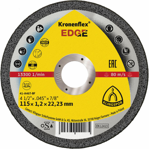Klingspor Kronenflex EDGE Trennscheibe 115 - 125 x 1,2 x 22,2 mm gerade
