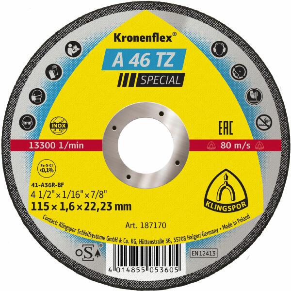 Klingspor Kronenflex A 46 TZ Special Trennscheibe 115 - 230 x 1,6 x 22,2 mm gerade