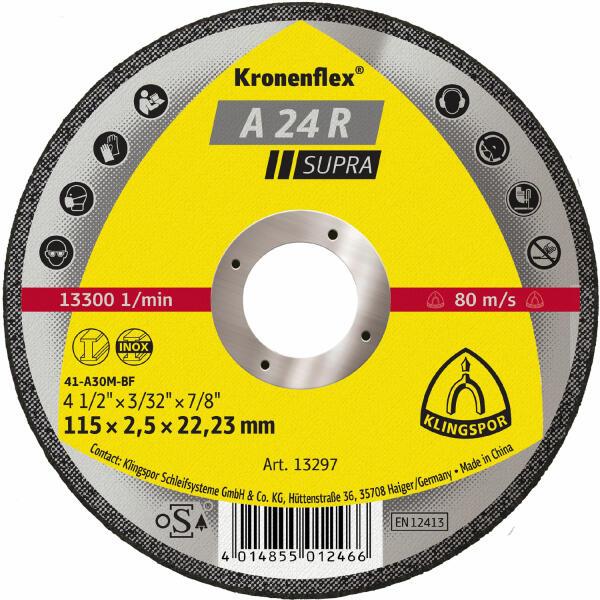 Klingspor Kronenflex A 24 R Supra Trennscheibe 115 - 230 x 2,5 x 22,2 mm gerade