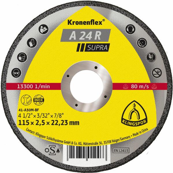 Klingspor Kronenflex A 24 R Supra Trennscheibe 115 - 230 x 2,5 x 22,2 mm gekröpft