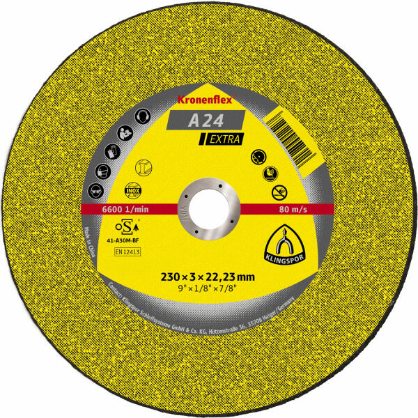 Klingspor Kronenflex A 24 Extra Trennscheibe 230 x 3 x 22,2 mm gekröpft