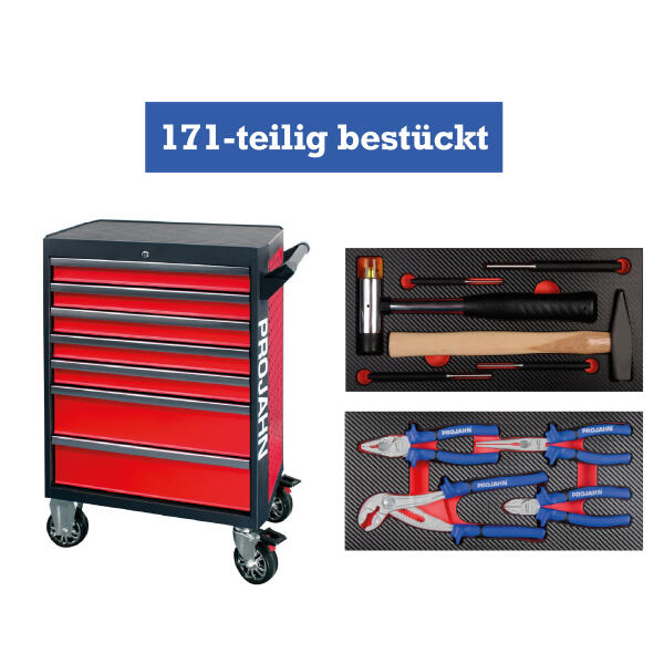 PROJAHN GALAXY Werkstattwagen 171-tlg. bestückt Rot/Anthrazit