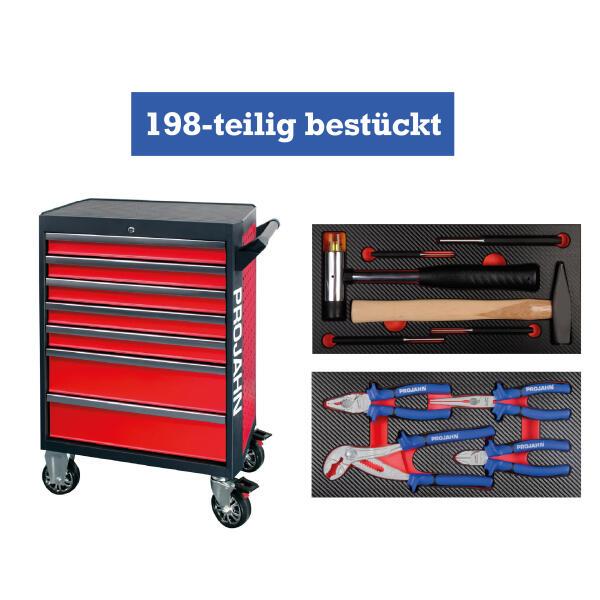 PROJAHN GALAXY Werkstattwagen 198-tlg. bestückt Rot/Anthrazit