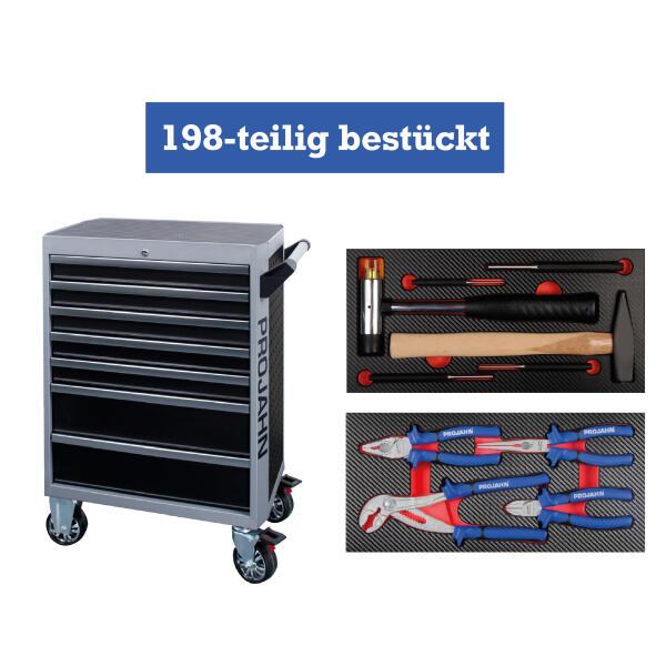 PROJAHN GALAXY Werkstattwagen 198-tlg. bestückt Schwarz/Silbergrau