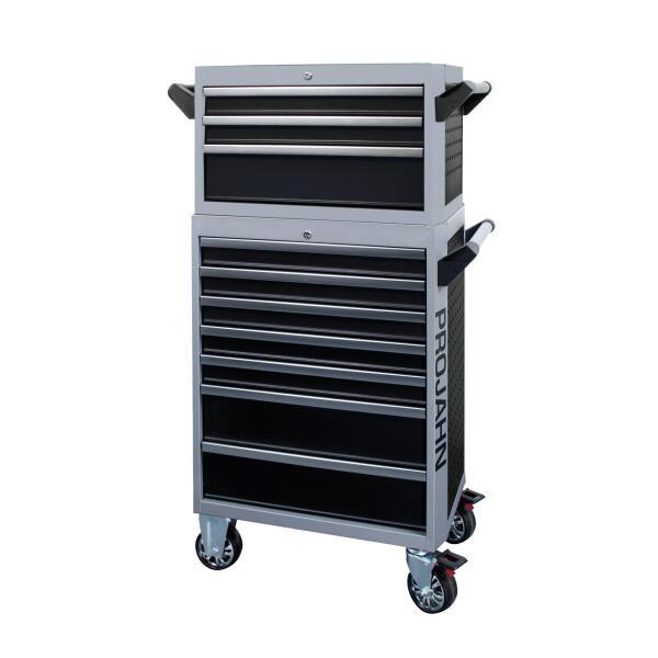 PROJAHN GALAXY Werkstattwagen + Aufsatz + Dosenhalter + Papierrollenhalter Schwarz/Silbergrau