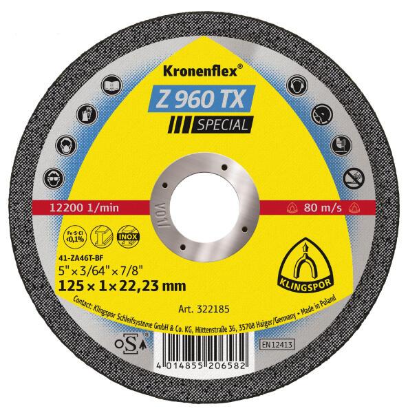 Klingspor Kronenflex Z 960 TX Special Trennscheibe 115 - 125 x 1 x 22,2 mm gerade