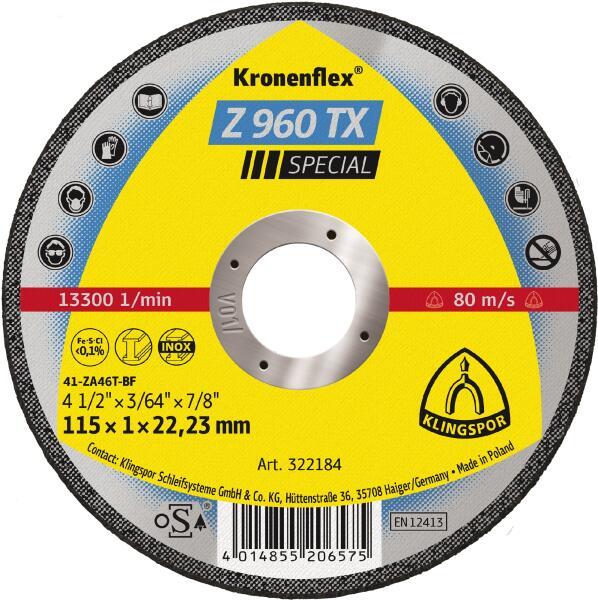 Klingspor Kronenflex Z 960 TX Special Trennscheibe 115  x 1 x 22,2 mm gerade