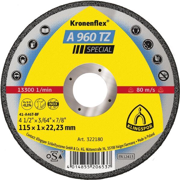 Klingspor Kronenflex TZ Special Trennscheibe A 960 TZ 115 - 125 x 1 x 22,2 mm gerade