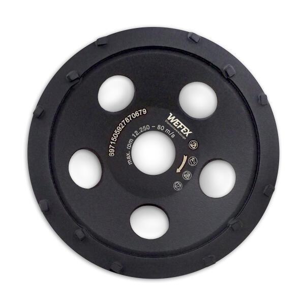 Diamant-Schleifteller Mini-PKD-Cup 12 Segmente Ø 125 mm Aufnahme 22,2 mm Bauhöhe 21 mm
